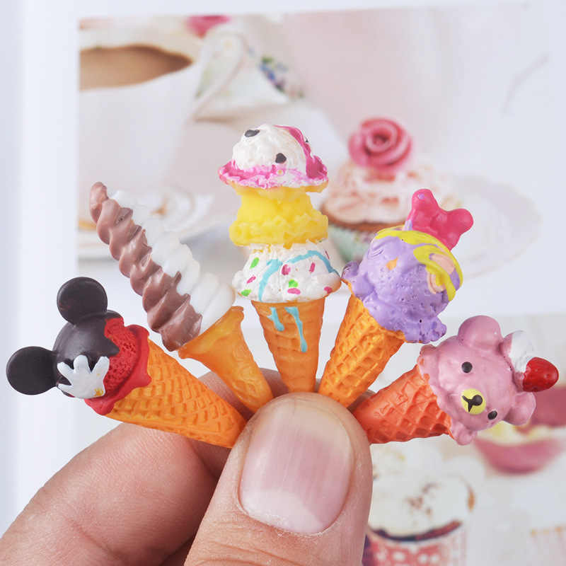 8pcs Doll Re-ment Miniature Pretend Toys Mini Resin Ice-cream Play food for blyth bjd barbies Dollhouse Kitchen toys