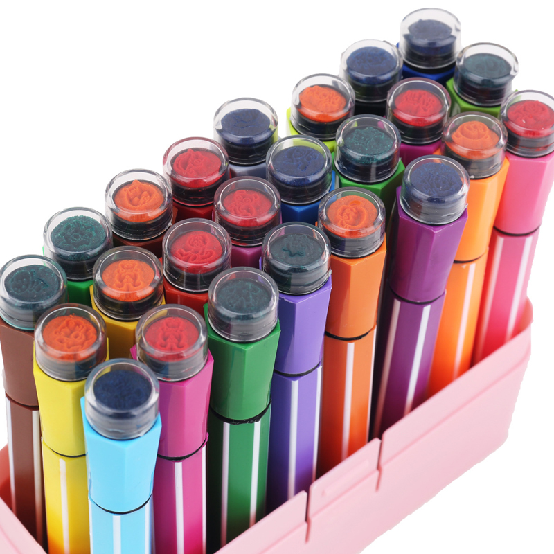 Kawaii Seal Stamp Washable Water Color Pen Cute Marker Highlighter Kid Stationery Art Material Drawing Painting School Supplies stainless steel full window with center pillar decoration trim car accessories for hyundai ix35 2013 2014 2015 24