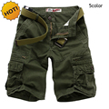 2016 Summer Fashion Design Runway Zipper Pocket Bermuda Straight Cotton Joggers Military Solid Cargo Shorts Men Tactical Short