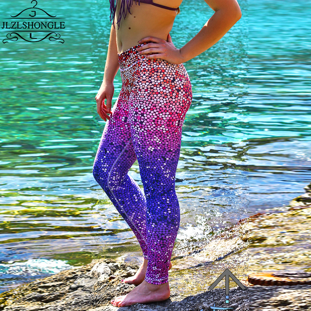 New Women Shine Fish Scale Mermaid Printed Leggings Slim High Waist Pencil Pants Quick-drying Sexy High Waist Female Leggings