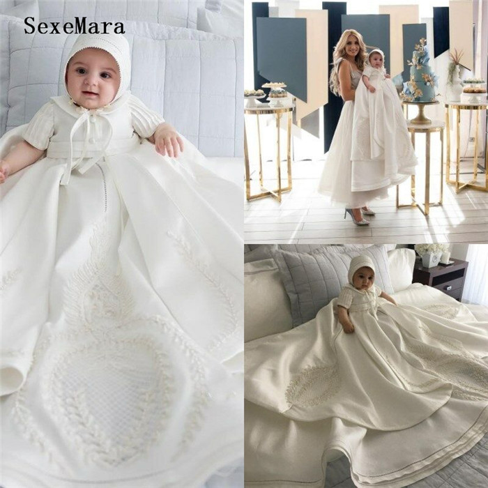 Newborn Toddler Baby Baptism Dresses with Bonnet Christening Gowns Satin kids First Communion OutfitNewborn Toddler Baby Baptism Dresses with Bonnet Christening Gowns Satin kids First Communion Outfit