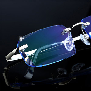 Image 3 - Fashion Eyeglasses Diamond Trimming Cutting Rimless Eyeglasses Prescription Optical Glasses Frame for Men Eyewear