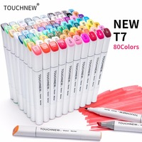 TOUCHNEW T7 Dual Tips Art Marker Set 30 40 60 80 Alcohol Based Sketch Markers Pen