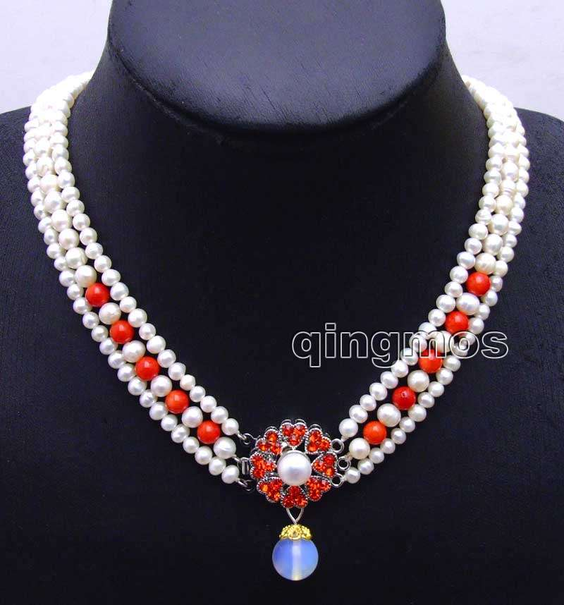 6-7mm White Round Natural FW pearl and red coral 3 strands 18-19