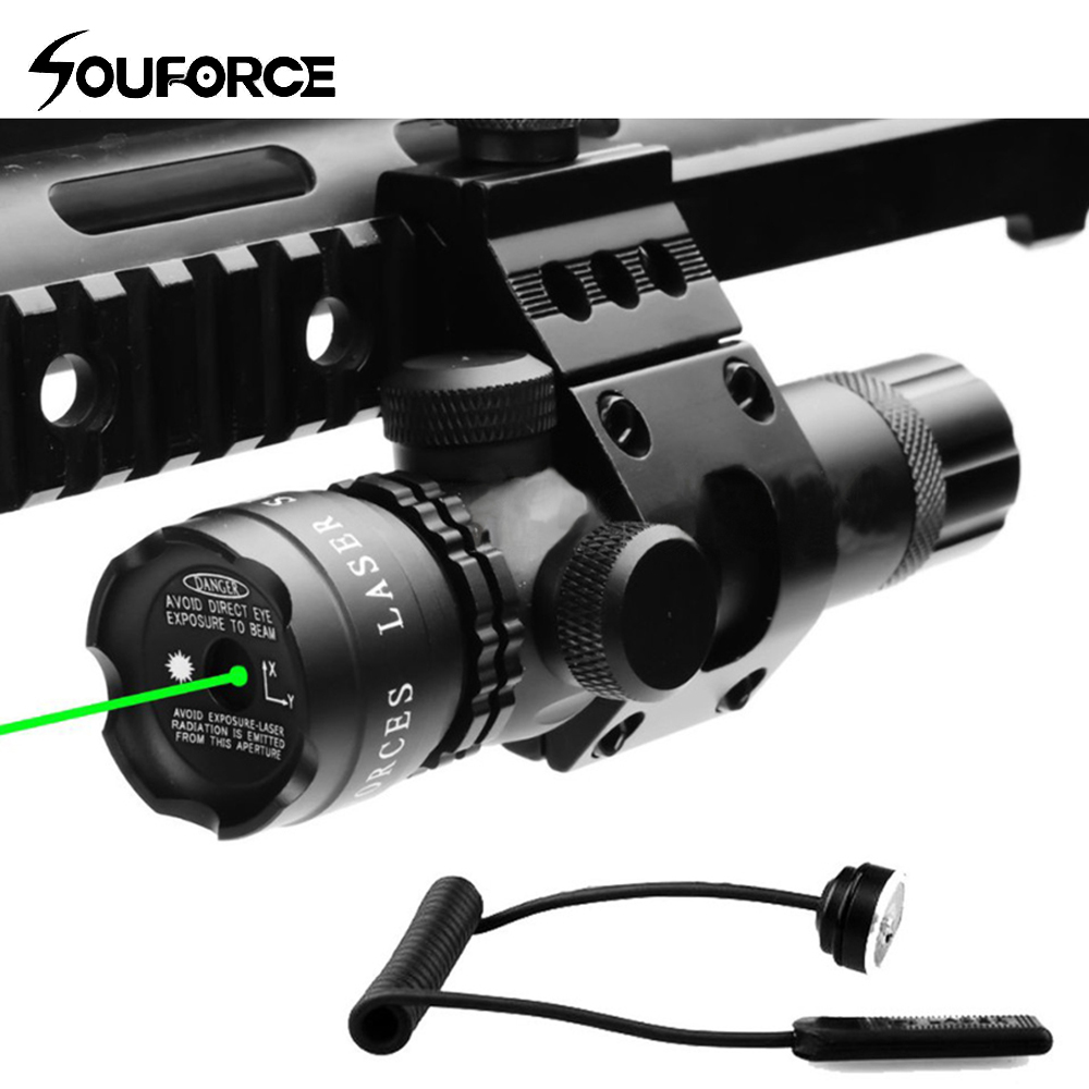 Tactical Green Laser Sight with Remote Switch and Offest Mount for Rifle Hunting Accessory