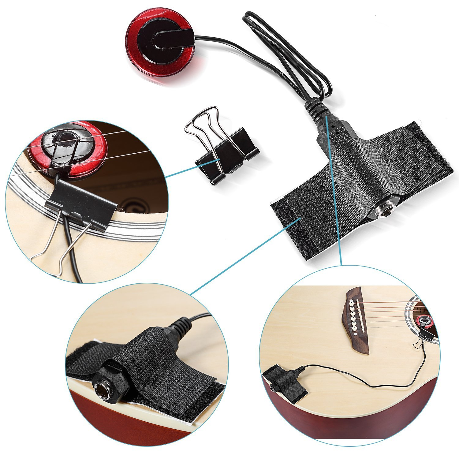 5-Pack Piezo Contact Microphone Pickups for Guitar, Violin, Banjo, OUD, Ukulele, Mandolin, Cello and More, Pick up Clear and A