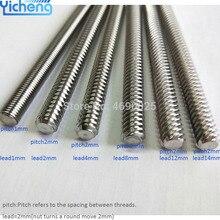 Yicheng свинцовый винт 8 мм свинцовый винт для ЧПУ трапециевидные T8 свинцовые винты в части 3d принтера Z ось свинца 2 4 8 10 12 мм 300 400 мм