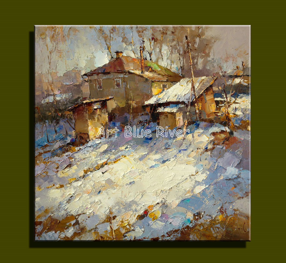 Abstract modern canvas wall Handmade decorative font b Knife b font winter picture oil painting on