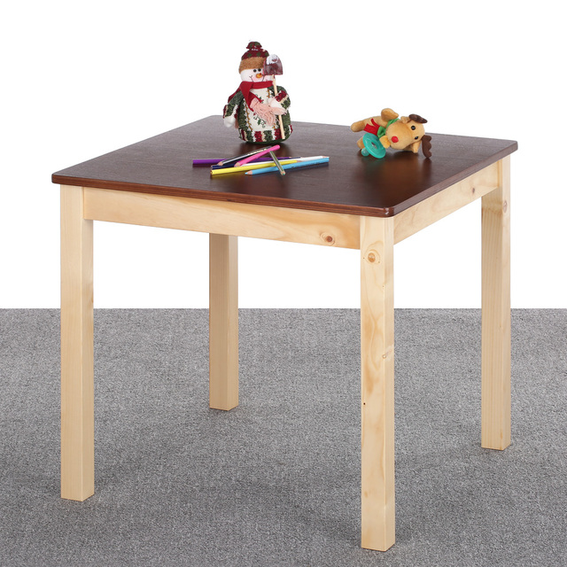 iKayaa Cute Wooden Kids Table Solid Pine Wood Square Toddler Children Activity Table for Kid Playing Learning