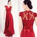 2015 Modern A linha mãe da noiva vestidos com mangas elegante ver através de rendas de moda