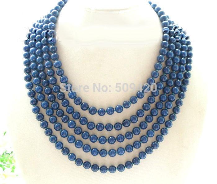 781ce5d5a439 Envío Gratis> @> W & O655> increíble collar de perlas de lapislázuli azul  oscuro redondo de 8mm ...