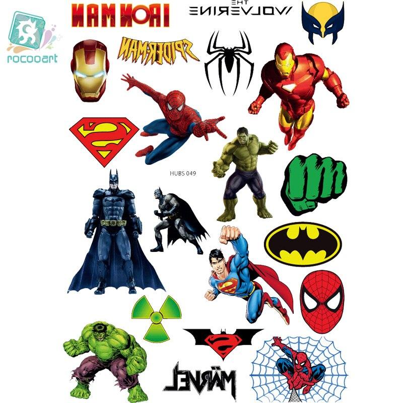 Rocooart HUBS049 Big Cartoon Spiderman Tatuagem Taty Body Art Temporary Tattoo Stickers Colorful Power Man Super Tatoo Sticker