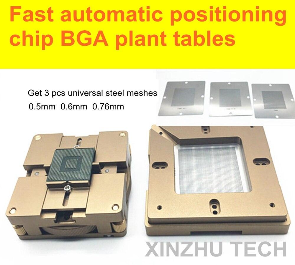 Rapide positionnement automatique puce BGA tableaux végétaux universel en acier usine de soudure à l'étain boule station de reprise BGA reballing pochoir