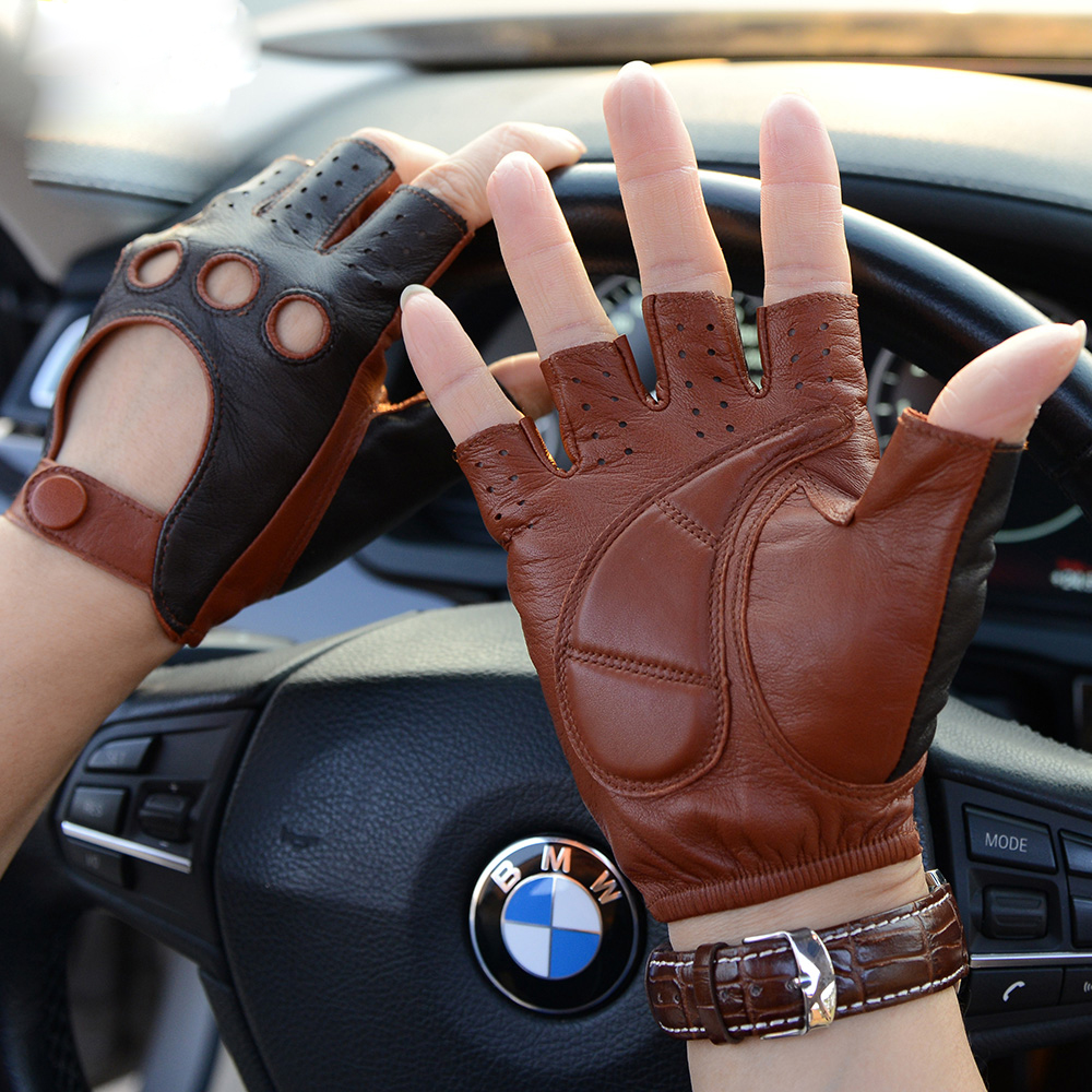Leather Gloves New Style Spring Summer Male Half Finger Locomotive Gloves Fashion Breathable Unlined Man's Driving Mittens M-52
