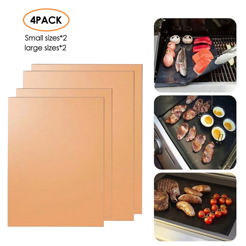 Barbecue Grill Mat Sets Non Stick BBQ Grill Mats Cooking Mats Large 5pcs With 2