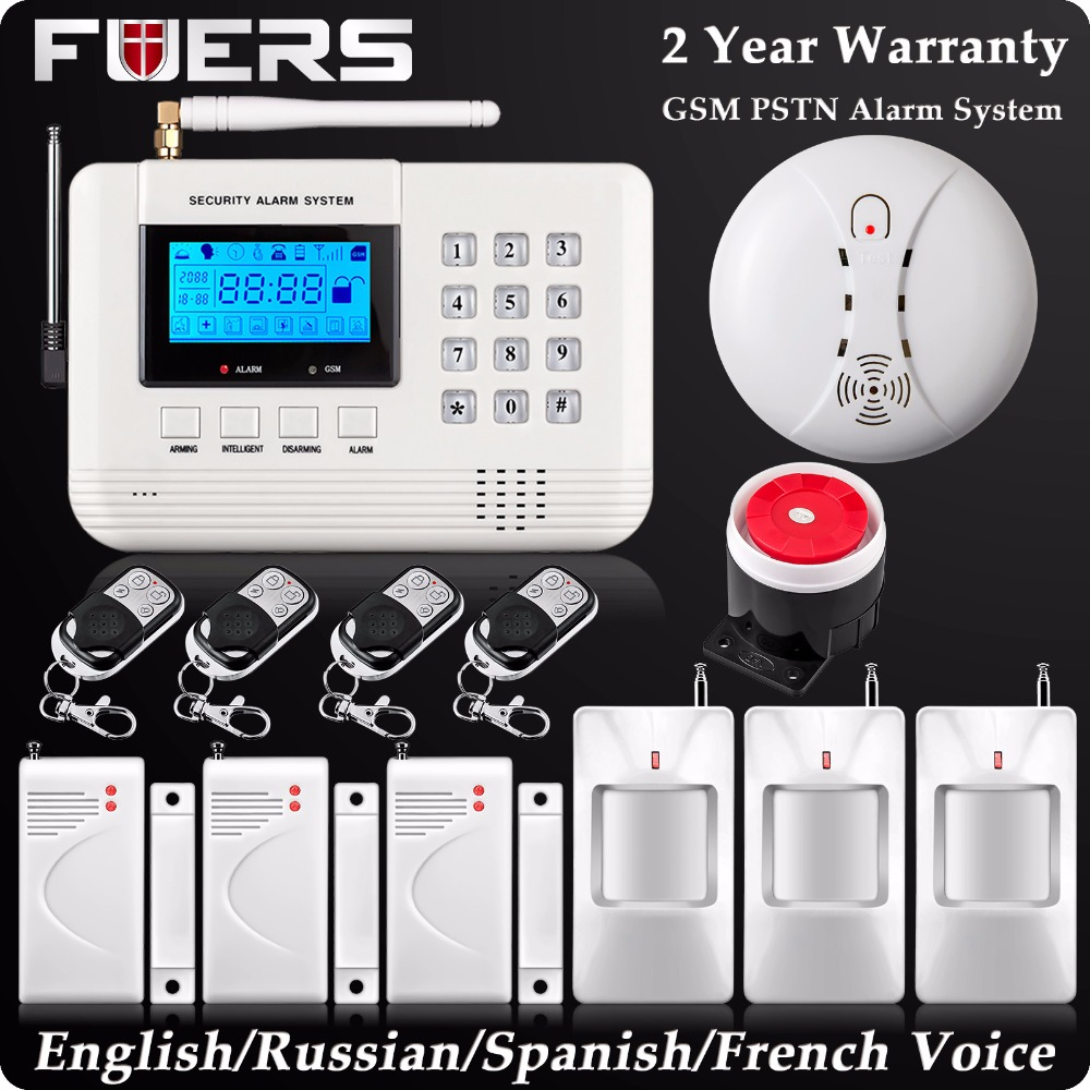 Dual Network Wireless LCD GSM PSTN Home Alarm  Security DIY Burglar House Wireless Smoke Detector English/Russian/Spanish Voice 433mhz dual network gsm pstn sms house burglar security alarm system fire smoke detector door window sensor kit remote control
