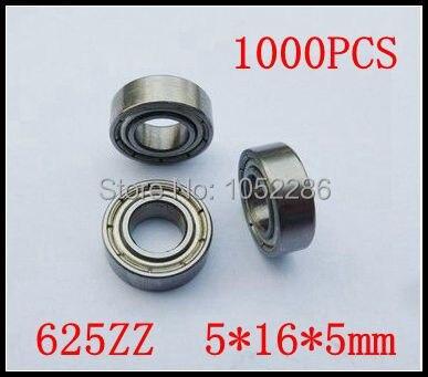 1000pcs  625ZZ  miniature radial ball bearing 625 625Z  shielded deep groove ball bearings 5*16*5mm
