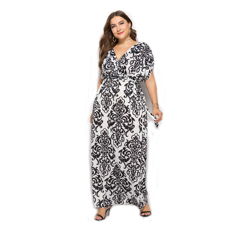Women Beach Maxi Dress Elegant Sexy V Neck Short Sleeve Casual Party Floral Print Stretch Loose Plus Size Long Summer Dress 30