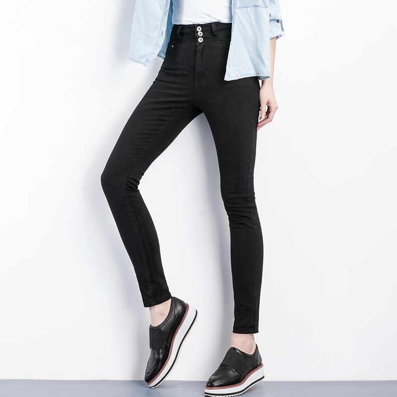 4e9ff62c5d7 ... 2019 LEIJIJEANS Высокая талия джинсы Кнопка fly полная длина плюс размер  черные джинсы для женщин стрейч ...