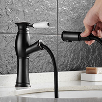Antique/Black Finish Copper Basin sink Faucet Pull Out spray spout Hot & Cold Water Tap antique brass bathroom basin mixer