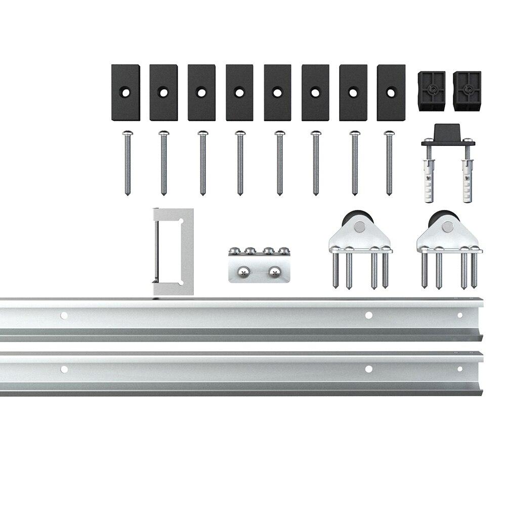 Unité de système de voie de Kit de voie de matériel de placard de porte coulissante moderne de grange pour la porte en bois simple 6FT/1860mm - 6