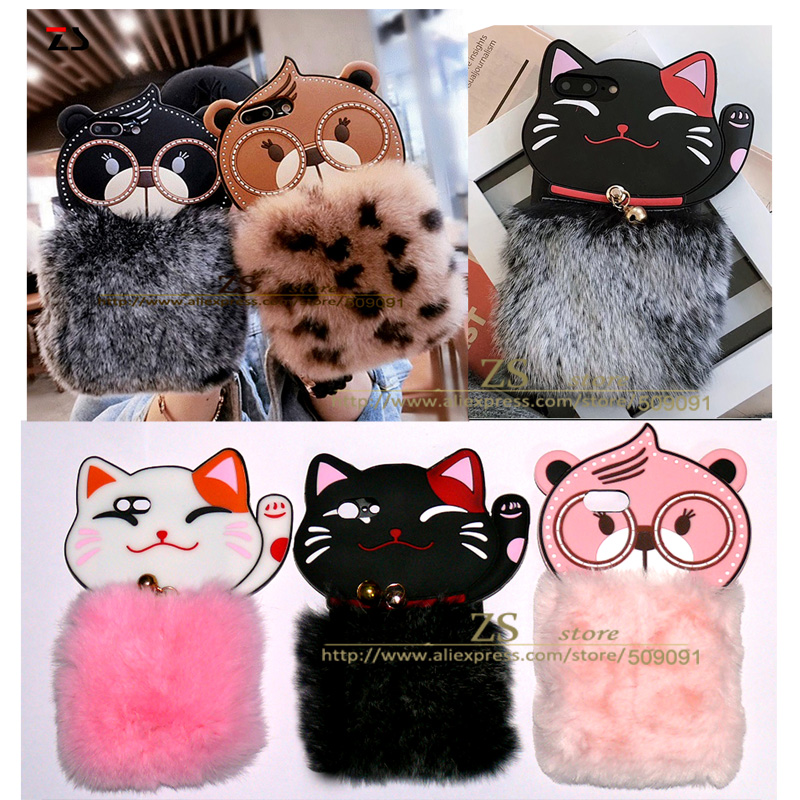 newest soft TPU plush bear for iphone 7 8 6 plus cases doll cartoon glasses bear back cover for iphone X shell  fundas capa
