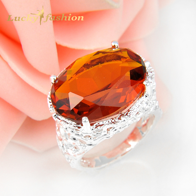 Promotion Unique Shine Oval Orange Stone Siver Plated Wedding Rings