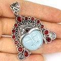 Stunning Moon Goddess Turquoise Color Face, Blood Ruby Created   Silver Pendant 53x42mm