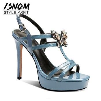 ISNOM Patent Leather Gladiator Sandals Women Stiletto Heels Sandals Women Summer Wedding Shoes Female Crystal Platform Shoes фото