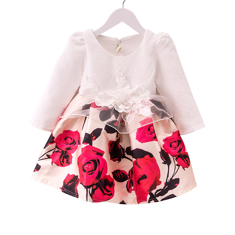 Autumn Winter Children Girls Dress 100% Cotton Flower Long-sleeved Girls Clothes 2-6 Years Kid Girl Party Dress children s spring and autumn girls bow plaid child children s cotton long sleeved dress baby girl clothes 2 3 4 5 6 7 years