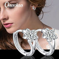 Korean Fashion Silver Plated Small Hoop Earrings Round White Crystal Cubic Zircon Hoop Huggies Earrings For Women Fancy Earring