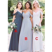 Bbonlinedress A Line Chiffon Bridesmaid Dresses 2019 Off The Shoulder Wedding Party Dress V Neck For Bridesmaids