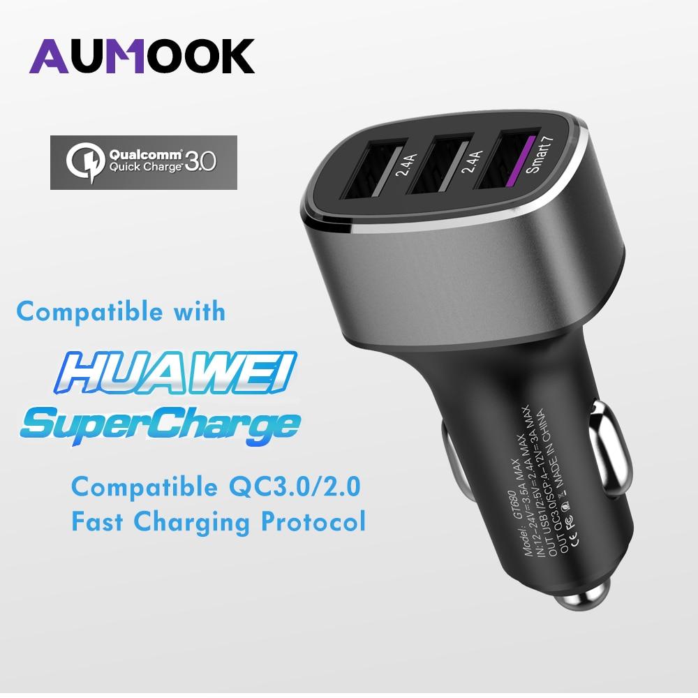 Coche rápido cargador USB 3 Puerto USB carga rápida QC 3,0 para IPhone XiaoMi Samsung HTC Huawei carga rápida Moblie cargador de teléfono