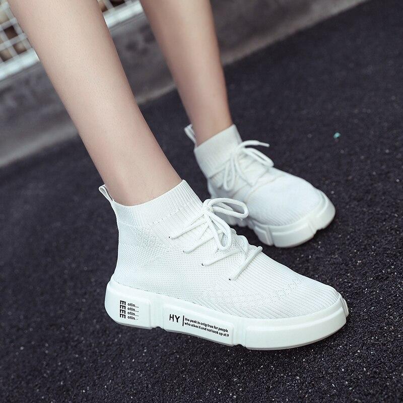 Heigh sapatos de meia estiramento sapatos plataforma