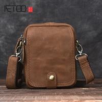 AETOO Handmade Retro Mad Horse Skin Bag Mini Men Messenger Bag Leather Shoulder Bag Sports Leather