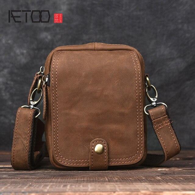 8863f50f5610 AETOO ручной работы Ретро mad horse кожаная сумка мини мужская кожаная сумка  на плечо кожаные карманы