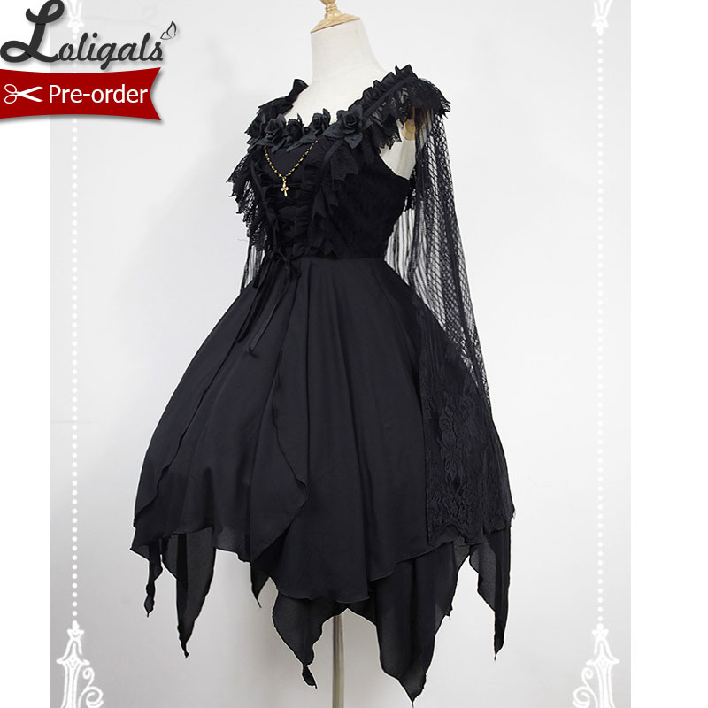 Asymmetrical Gothic Lolita Dress The Ballet Spirit Short JSK Dress with Lace Cape by Soufflesong