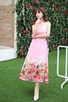 Womens Summer Dresses 2017 Summer New Self Cultivation Was Thin Sleeveless Long Section Chiffon Dress European