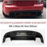 Car Accessories MX5 NC NCEC Roadster Carbon Fiber GVN Style Rear Diffuser With Centre Flap Glossy Fibre Miata Bumper Lip Trim