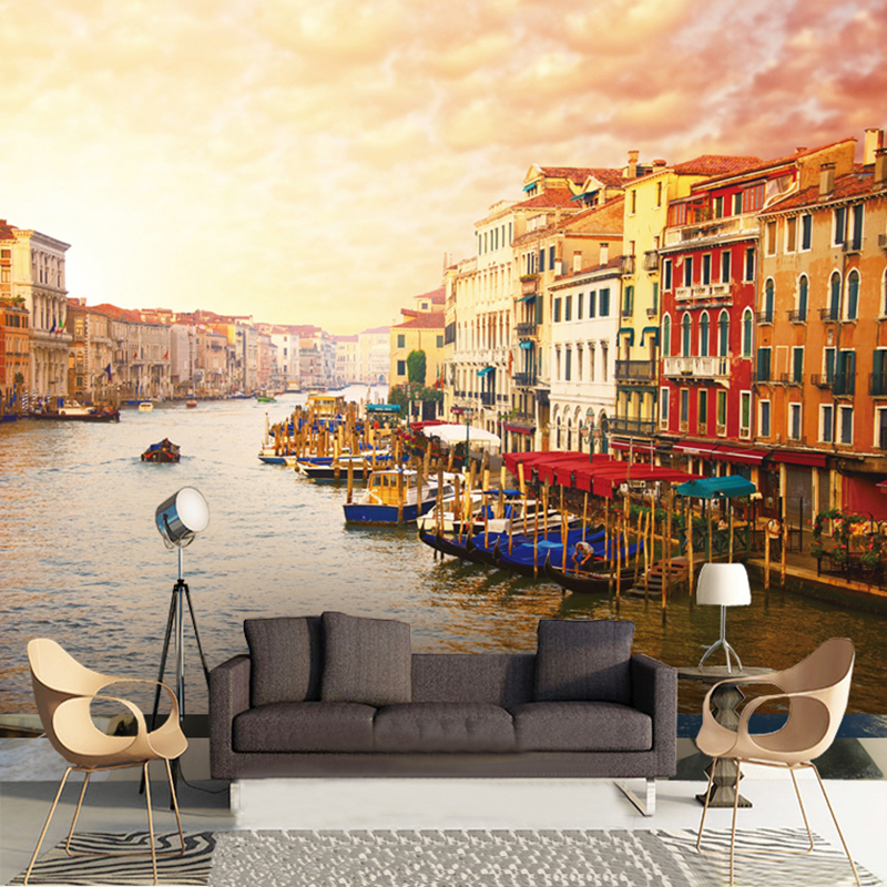 Custom 3D Photo Mural Wallpaper Dusk European Building City Beside River Wall Paper For Living Room Bedroom TV Sofa Background custom mural wallpaper european style 3d stereoscopic new york city bedroom living room tv backdrop photo wallpaper home decor