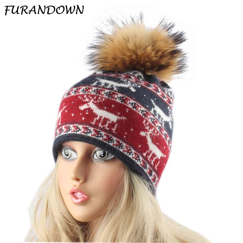 Christmas milu deer Jacquard Skullies Hat Wool Rabbit Fur Knitted Winter Hats For Women Rhinestone Beanies For Ladies