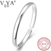 V Ya 100 Pure Sterling S925 Solid Silver Adjustable Open Size Jewelry Bracelets For Wome Luxury