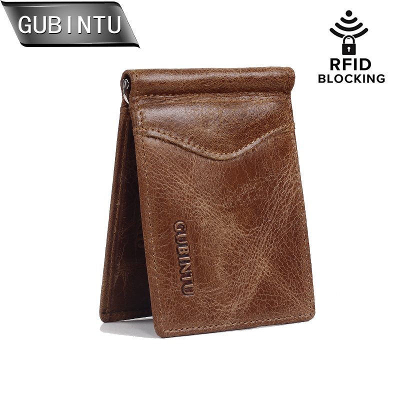 цена на GUBINTU Men's RFID Blocking ID Credit Card Purses Genuine Leather Wallet With Money Clip For Men