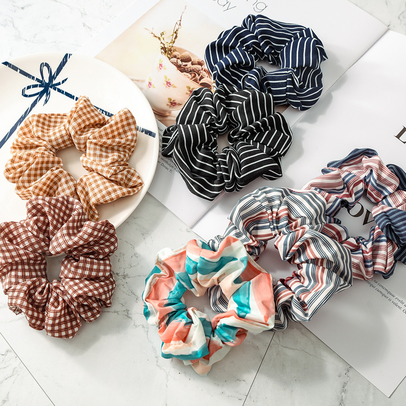 New 1PC Hair Band Rubber Band   Headwear   Cloth Strip Rainbow Scrunchie Retro Grid Printed Striped Hair Accessories Coconut Tree