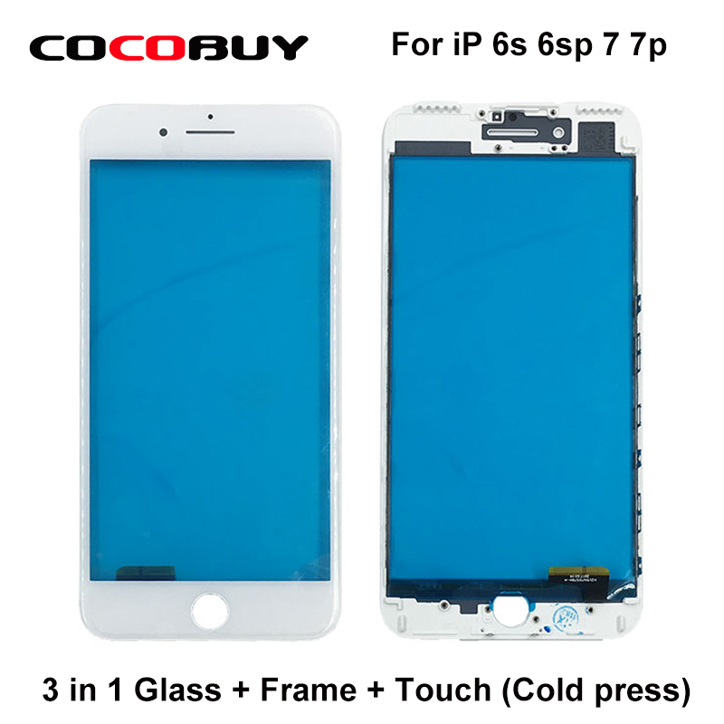 10Pcs/Lot Free shipping A+ Quality 3 in 1 Front Glass Outer Lens with frame & glass with touch panel for iphone  6S,6SP ,7,7P free shipping car refitting dvd frame dvd panel dash kit fascia radio frame audio frame for 2012 kia k3 2din chinese ca1016