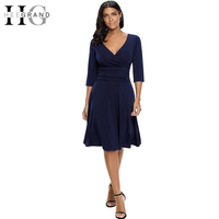 HEE GRAND 2018 Women Spring Deep V neck Dresses Vintage Dress Soft Stretch For Business Wear to Work Dress WQS2215