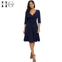 HEE GRAND 2018 Women Spring Deep V Neck Dresses Vintage Dress Soft Stretch For Business Wear