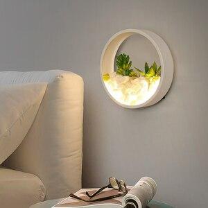 Image 4 - 北欧植物壁ライト創造ベッドサイドの寝室のランプの結婚式ルーム階段リビングルームシンプルでモダンな通路壁ランプ