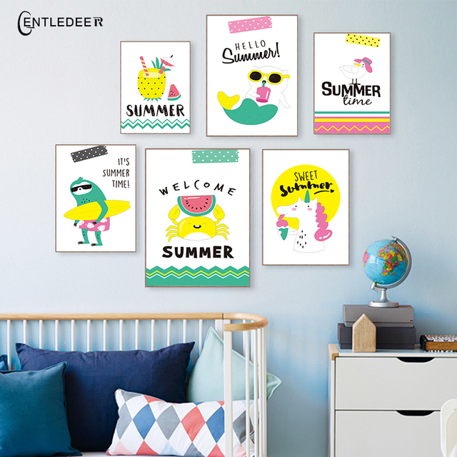 Modern Minimalism Cartoon Summer Love Print Posters Canvas Paintings Wall  Picture Nordic Poster Baby Kids Room Home Decor
