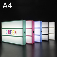 High quality A4 Size LED Combination Light Box Night Lamp DIY Black Letters Cards USB Port Powered Cinema Lightbox